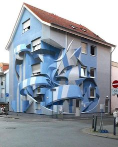 """Optical Illusion by PeetaCreated for the Stadt-Wand-Kunst Street Art Festival, this project is an optical illusion painted by Peeta, as he explains """"I loved this building since the beginning and I tried my best to combine multidisciplinary skills to. 3d Street Art, Street Art Graffiti, Street Artists, Graffiti Artists, 3d Art, Urbane Kunst, Illusion Art, Italian Artist, Art Festival"""