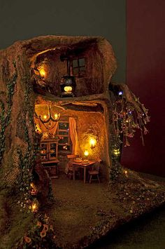 Fairy house with night lights