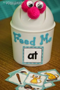 Great for Daily 5 Centers or Literacy Centers.  Even use during Guided Reading Lessons. Teacher Tip:  Transform a simple mini garbage can into a engaging sorting tool.