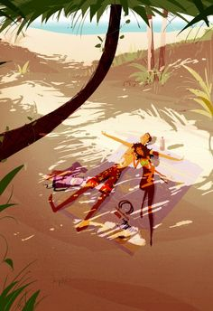 Enjoy the diverse gallery of summer illustrations by famous artist Pascal Campion: nature, people, sun and love in digital art. Art And Illustration, Illustrations, Pascal Campion, Pixiv Fantasia, Love Art, Cartoon Art, Strand, Amazing Art, Concept Art
