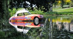 This painted Citroen DS is combined with a shark in the water wich was used for defence of the city of Ravenstein in the Provence of North Brabant Citroen Ds, I School, Shark, Outdoor Decor, Sharks