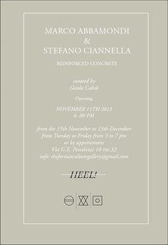 """15 Novembre / Milano """"Reinforced Concrete"""" Marco Abbamondi + Stefano Ciannella"""