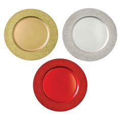 """Decorative Glitter Border Charger Plate, 13"""" Round Holiday Tabletop Charger Plate, Red, Gold, Silver Acrylic Plastic, Charger Plates, Dinner Plates, Red Gold, Tabletop, Glitter, Holiday, Kitchen, Silver"""