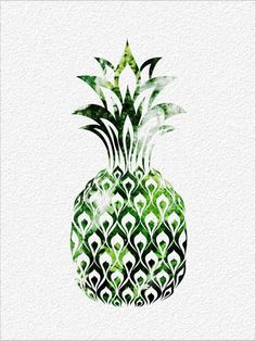 PINEAPPLE Archival Art Print 8 x 10  Green Watercolor Silhouette Painting Pineapple Print  Wall Decor Home or Office, Kitchen or Gift