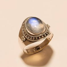 Natural Moonstone Ring Sterling Silver 925 Solid Sterling Silver Ring AAA Flashing Rainbow Ring White Rainbow Moonstone Ring Size9.8 E-498 by shantajhanwar52 on Etsy https://www.etsy.com/listing/510180368/natural-moonstone-ring-sterling-silver
