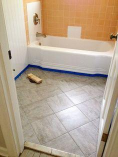 Bathroom Redo Grouted Peel And Stick Floor Tiles