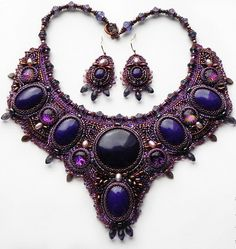This is the third part of beautiful jewelry by Alena Cilenticyriver, who  is very talented beadembroidery artist from Russia. The first a