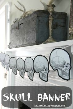 Fun Halloween Banner that costs next to nothing! With FREE printable.  eclecticallyvintage.com