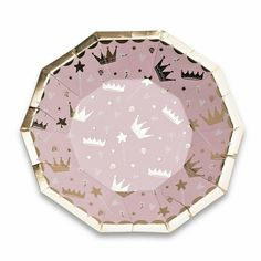 Celebrate your little royalty with these Pink & Gold Princess Dessert Plates featuring pink and white with gold foil-pressed crowns. Coordinate them with the Sweet Princess collection for a royally rad swan princess party! Pink Princess Party, Princess Party Supplies, Princess Birthday, Princess Crowns, Princess Girl, Pink Und Gold, Blush Pink, Serviettes Roses, Ballon Rose