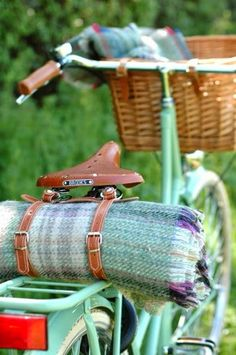 off on an adventure with a bike, a blanket and a basket