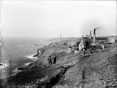 Levant mine, looking towards Pendeen, before the building of the lighthouse. Pendeen Lighthouse was opened in 1900 - it's now on Pendeen Watch (in the distance). St Just, Truro, Cornwall England, St Ives, Environment Design, Historical Photos, Lighthouse, Monument Valley, Past