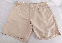 POLO RALPH LAUREN Shorts Mens Size 40 Pleated Front Silk Linen Beige #PoloRalphLauren #Khakis #Chinos #shorts