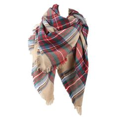 Red Pretty Ladies Warm Winter Colorful Plaid Scarf ($17) found on Polyvore featuring accessories, scarves, red, tartan plaid shawl, red plaid scarves, multi colored scarves, tartan plaid scarves and tartan scarves