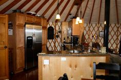 This kitchen is in a Yurt. . . . I WANT ONE ! ! !