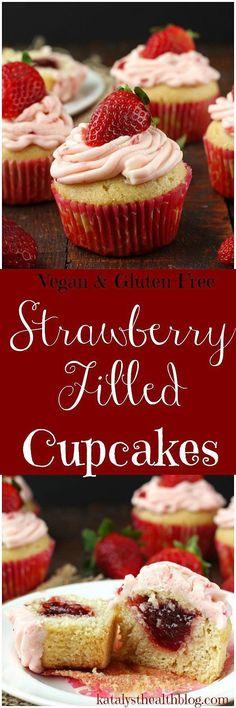 Vegan Strawberry Filled Cupcakes