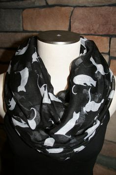 Infinity Scarf Black and White Cat by SewPriorAttireMitten on Etsy, $16.00