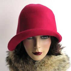 Honeysuckle pink cloche hat for women. This is a warm wool hat d5ede881e385
