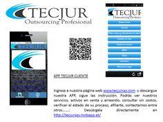 Ingrese a nuestra página web www.tecjursas.com  y descargue nuestra APP, sigue las instrucción. Podrás ver nuestros servicios, activos en venta y arriendo, consultar sin costos, verificar el estado de su proceso, afiliarte, contactarnos entre otros…….. Descárgala AQUÍ