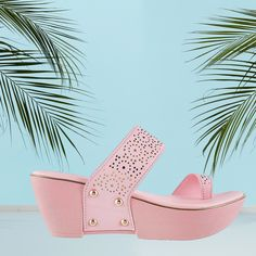 The colour pink makes everything look pretty! Wear these pink shoes with your outfit and adorn your look. Pink Shoes, How To Look Pretty, Heeled Mules, How To Make, How To Wear, Wedges, Colour, Heels, Outfits