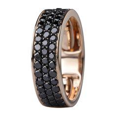Sortija en oro rosado de 14 kilates con diamantes negros. 14K rose gold ring with black diamonds.