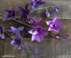 fleurs d'orchidées de papier de couleur. Tutoriel schema à de fleurs à imprimer