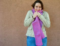 Pink and Purple Striped Scarf for Women - Purple and Pink Scarf - Crochet Stripe Scarf - Bright Scarf - Hoooked Scarves by HoookedHandmade