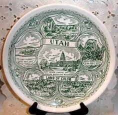 State of UTAH Vintage Green Transferware Collector Plate by yesteryearsgoodies