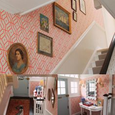 Bonnie Michael's has just completed a refreshingly vibrant renovation of her London home using @annaspiro for Porter's Paints wallpaper Rosey Posey Trellis in Chilli Coral
