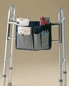 Combo Walker/ Wheelchair Bag is a sporty blue denim bag with four easily accessible pockets. Walker Accessories, Wheelchair Accessories, Walker Bags, Sewing Hacks, Sewing Projects, Sewing Tips, Sewing Crafts, Sewing Tutorials, Craft Ideas