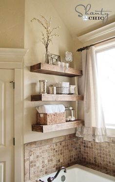 DIY-Floating-Shelf-Tutorial - half bath on main floor could use some pretty storage space. Great for master bath...the problem solved for the space over bathtub.