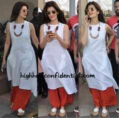 Sangeeta Bijlani In Anita Dongre Grassroot At Arpita Khan's Baby Simple Kurti Designs, Salwar Designs, Blouse Designs, Indian Attire, Indian Wear, Indian Dresses, Indian Outfits, Western Dresses, Casual Indian Fashion