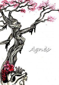 Tree of Love arbre, femme, cœur, fleur Dessin à la main / Peinture