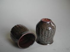 Pair of Carbon Trap Shino Tea Cups by YumikoKugaPottery on Etsy