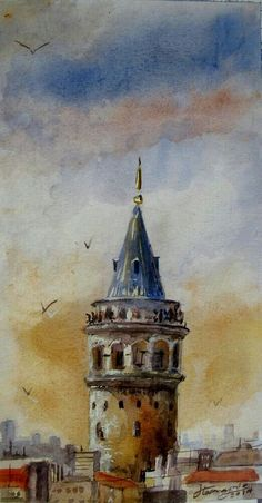 in Istanbul , Galata Tower - Watercolor painting Watercolor Architecture, Watercolor Landscape, Landscape Art, Watercolor Paintings, Simple Watercolor, Painting Abstract, Islamic Paintings, Turkish Art, Building Art