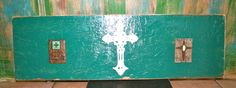 Three Crosses on Turquoise 31 in x 9 in by GraceFlowsFreely, $25.00