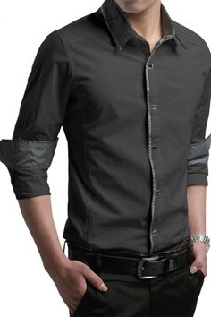 Army Grey Contrast Trim Long-sleeve Mens Shirt US$26.21