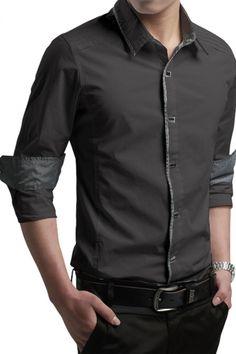 Army Grey Contrast Trim Long-sleeve Mens Shirt US$26.21