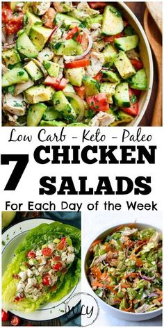 10 Amazing Low Carb Keto Chicken Salad Recipes 7 low carb chicken salad recipes that are perfect for a low carb meal on the go, for work or for your next summer BBQ. Some of these are also paleo chicken salad recipes and work with a ketogenic diet. Low Carb Chicken Salad, Chicken Salad Recipes, Chicken Salads, Low Carb Recipes, Diet Recipes, Healthy Recipes, Low Carb Summer Recipes, Paleo Salad Recipes, Smoothie Recipes