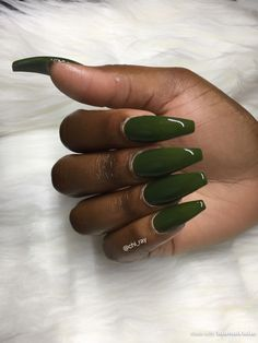 Fall Nails Long Coffin Nails Hunter Green Nails Olive Green Nails PaintObsessed PaintTheSalon #AcrylicNailsDesigns Acrylic Nails Almond Matte, Coffin Nails Glitter, Matte Nail Art, Coffin Nails Long, Nail Nail, Nail Polish, Dark Beauty, Beauty Box, Dark Green Nails