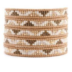 Gold Mix Beaded Wrap Bracelet on Beige Leather