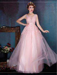 Retro Deep V Beaded Floral Evening Dress