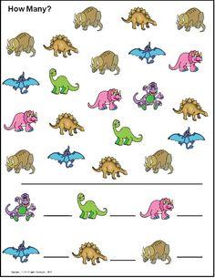 Hur m& av varje sort? Dinosaur Worksheets, Dinosaur Theme Preschool, Fun Worksheets For Kids, Dinosaur Activities, Dinosaur Crafts, Free Preschool, Preschool Printables, Preschool Worksheets, Preschool Learning