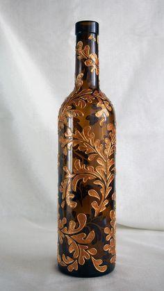 art inside — Hand painted wine bottle — Golden Leaves