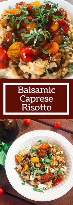 Balsamic Caprese Risotto is a unique twist on a classic dish. The gooey mozzarella is cut by the acidity of the balsamic, brightened up with fresh basil. A house favorite! | Three Olives Branch