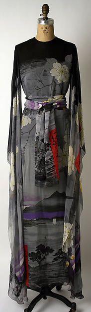 Silk evening dress, Hanae Mori, 1974