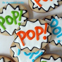 "Comic Book Exclamation Cookies- While these cookies were designed for the designer's father (Pop Pop,) I think that they would be perfect for a comic book party.  Use ""Pop!"" or even change the words to ""Wam!"" or ""Kapow!"" and they would be awesome! 