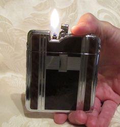Ronson Ten A Case Lighter 1940s Enamel Cigarette Case Lighter Vintage Art Deco Pouch Box Working Excellent Condition