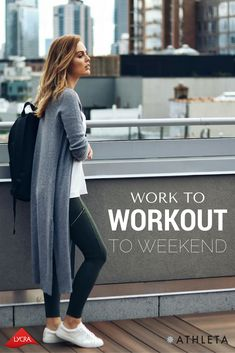 Charlotte Bridgeman, of Winston & Willow - Fashion Blog, puts in some workout time in her Athleta Metro pants powered by LYCRA® fiber | High Rise Metro Drifter Tight $79