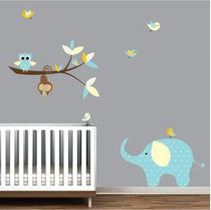Wall Decals Branch with Elephant Monkey-Vinyl Wall Decals. $99.00, via Etsy.