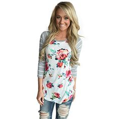 Winhurn Casual Floral Design Splice Stripes Round Neck Women Blouse T Shirt Top M White >>> You can get more details by clicking on the image.Note:It is affiliate link to Amazon.